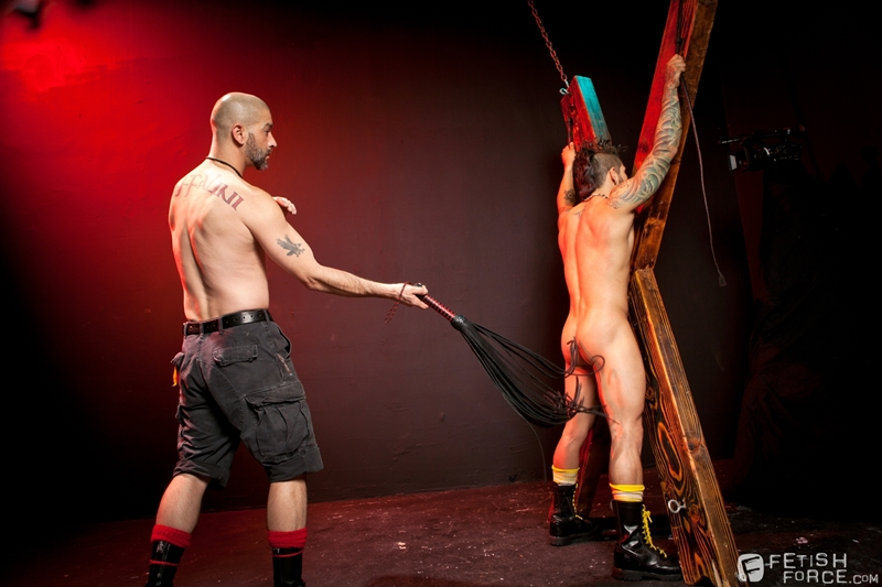 FistingCentral Tony Buff dark room Draven Torres St Andrews cross taskmaster Mohawk muscle flogging raised welts 001 tube download torrent gallery sexpics photo - Tony Buff and Draven Torres