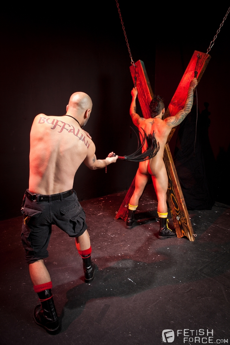 FistingCentral Tony Buff dark room Draven Torres St Andrews cross taskmaster Mohawk muscle flogging raised welts 003 tube download torrent gallery sexpics photo - Tony Buff and Draven Torres