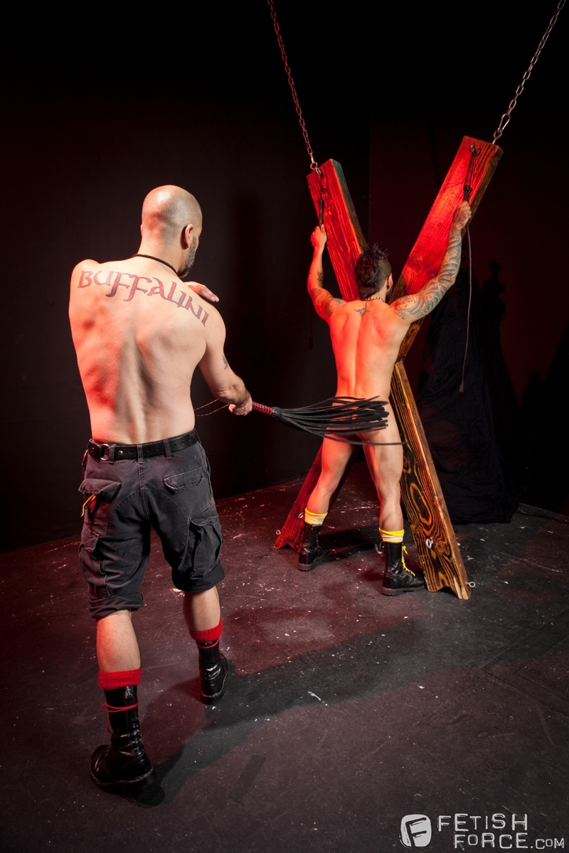 FistingCentral Tony Buff dark room Draven Torres St Andrews cross taskmaster Mohawk muscle flogging raised welts 004 tube download torrent gallery sexpics photo - Tony Buff and Draven Torres