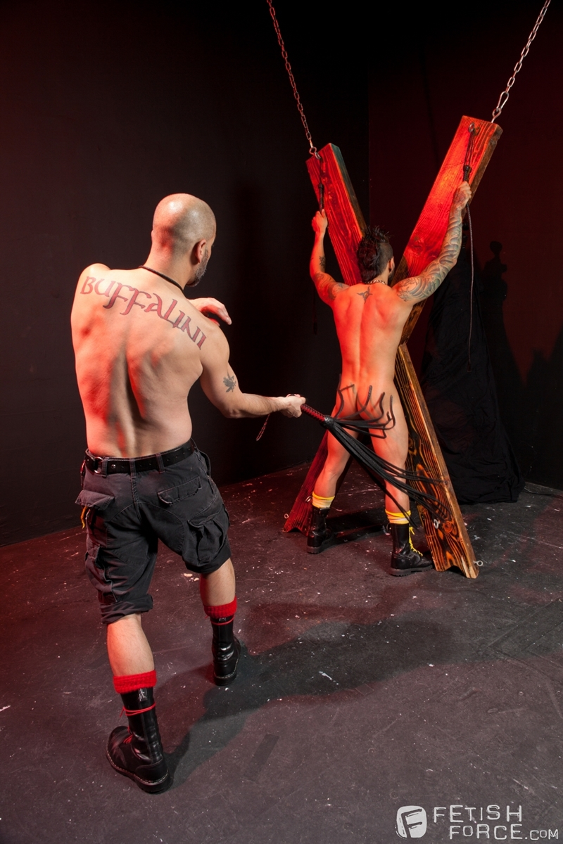FistingCentral Tony Buff dark room Draven Torres St Andrews cross taskmaster Mohawk muscle flogging raised welts 005 tube download torrent gallery sexpics photo - Tony Buff and Draven Torres