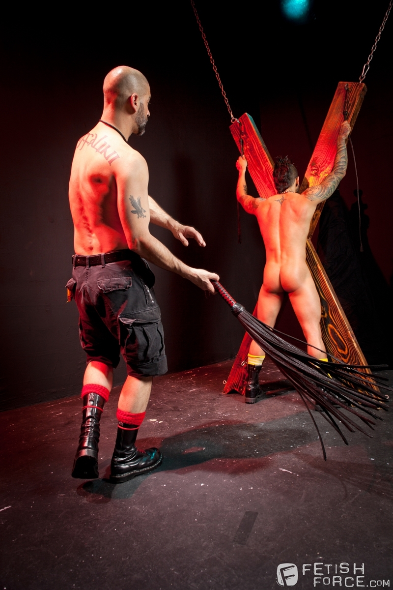 FistingCentral Tony Buff dark room Draven Torres St Andrews cross taskmaster Mohawk muscle flogging raised welts 006 tube download torrent gallery sexpics photo - Tony Buff and Draven Torres