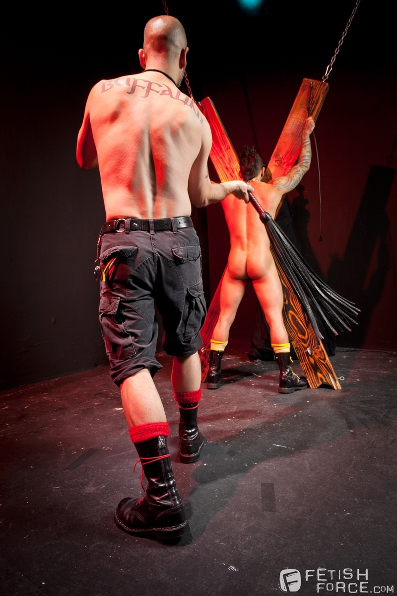 FistingCentral Tony Buff dark room Draven Torres St Andrews cross taskmaster Mohawk muscle flogging raised welts 008 tube download torrent gallery sexpics photo - Tony Buff and Draven Torres