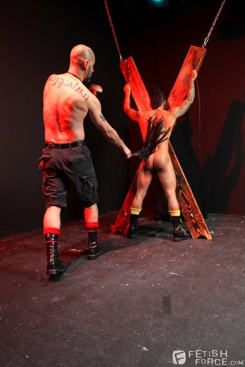 FistingCentral Tony Buff dark room Draven Torres St Andrews cross taskmaster Mohawk muscle flogging raised welts 009 tube download torrent gallery sexpics photo - Tony Buff and Draven Torres