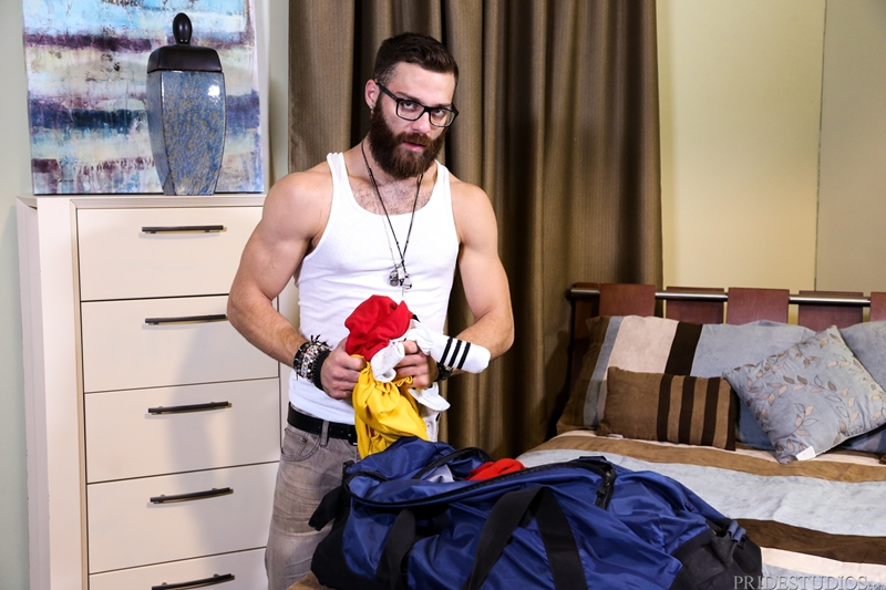 MenOver30 beard tattoos hairy chest Tommy Defendi Hunter Vance suck him blowjob big fat dick gay sex tight asshole fuck 002 tube video gay porn gallery sexpics photo - Hunter Vance pulls out Tommy Defendi's big fat cock and begins to suck him