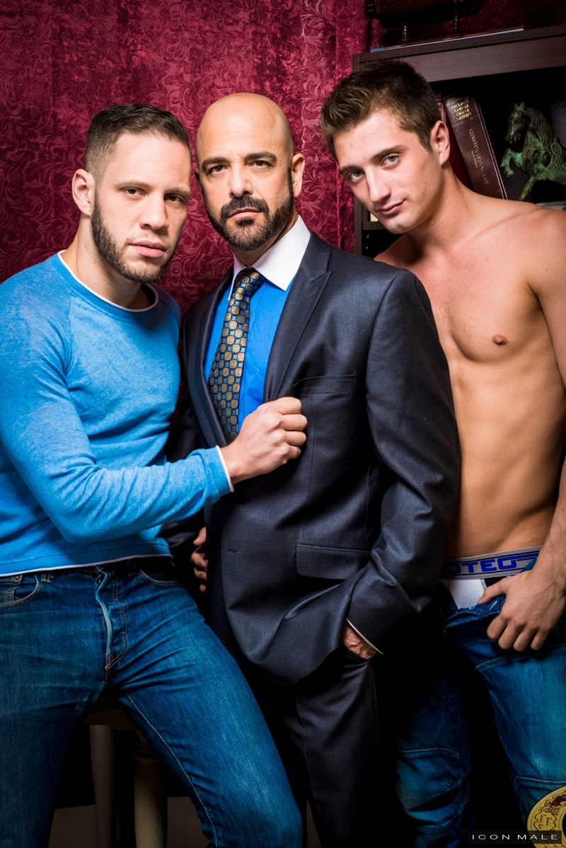 IconMale Adam Russo Wolf Hudson JD Phoenix Anal Big Cock Daddies Hairy Guys Threesome DILF HD Oral Blowjob Cumshot cum College Older 002 gay porn sex porno video pics gallery photo - Hardcore ass fucking threesome JD Phoenix and Wolf Hudson take on big muscle daddy Adam Russo