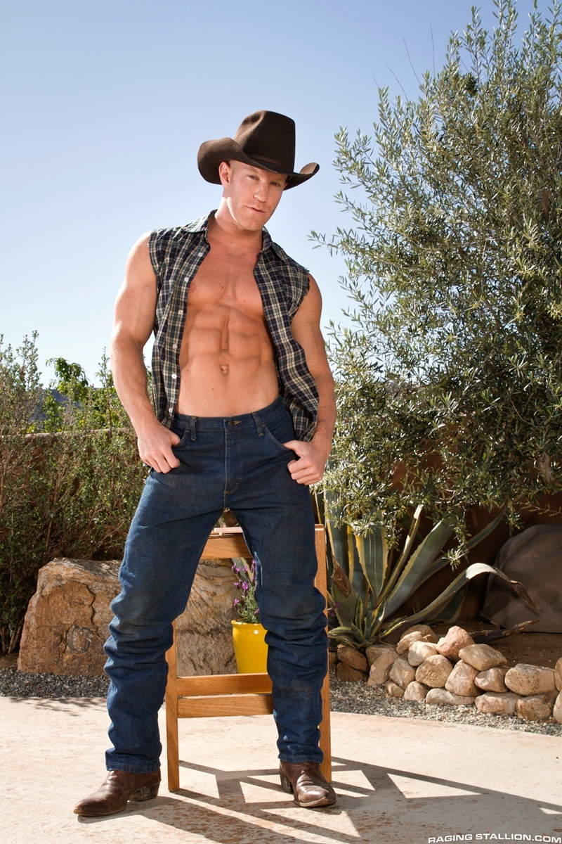 RagingStallion naked men Letterio Amadeo Johnny V butt cheek hairy chest fat 10 inch hard erect big cock fucking washboard abs 02 gay porn star sex video gallery photo - Johnny V's hot asshole fucked by Letterio Amadeo's huge erect cock