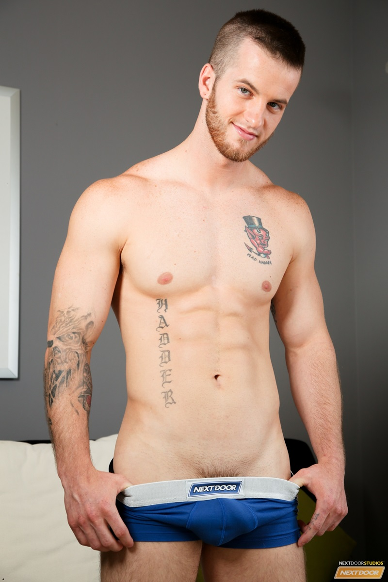 NextDoorCasting naked tattoo young men Markie More Quentin crotch bulge ass fucking huge dick reverse cowboy anal rimming cocksucker 02 gay porn star sex video gallery photo - Quentin drops to his knees as Markie More fucks his mouth just a little