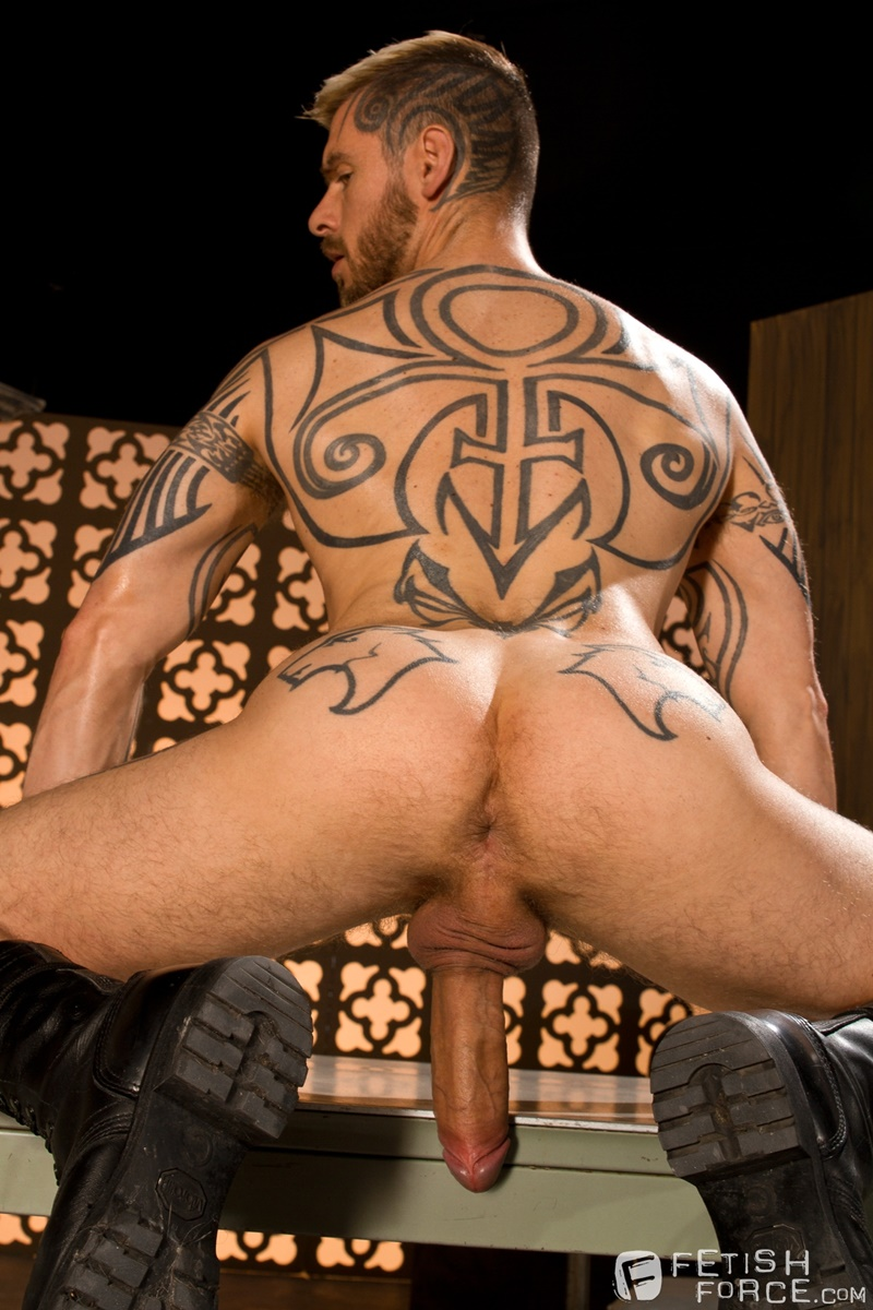 FistingCentral BDSM tattoo Logan McCree harness restrain tied boung Hugh Hunter horse huge hung cock sucking nipple clamps wax 003 gay porn tube star gallery video photo - Hugh Hunter keeps sliding the sounding rod in and out of Logan McCree's dick slit