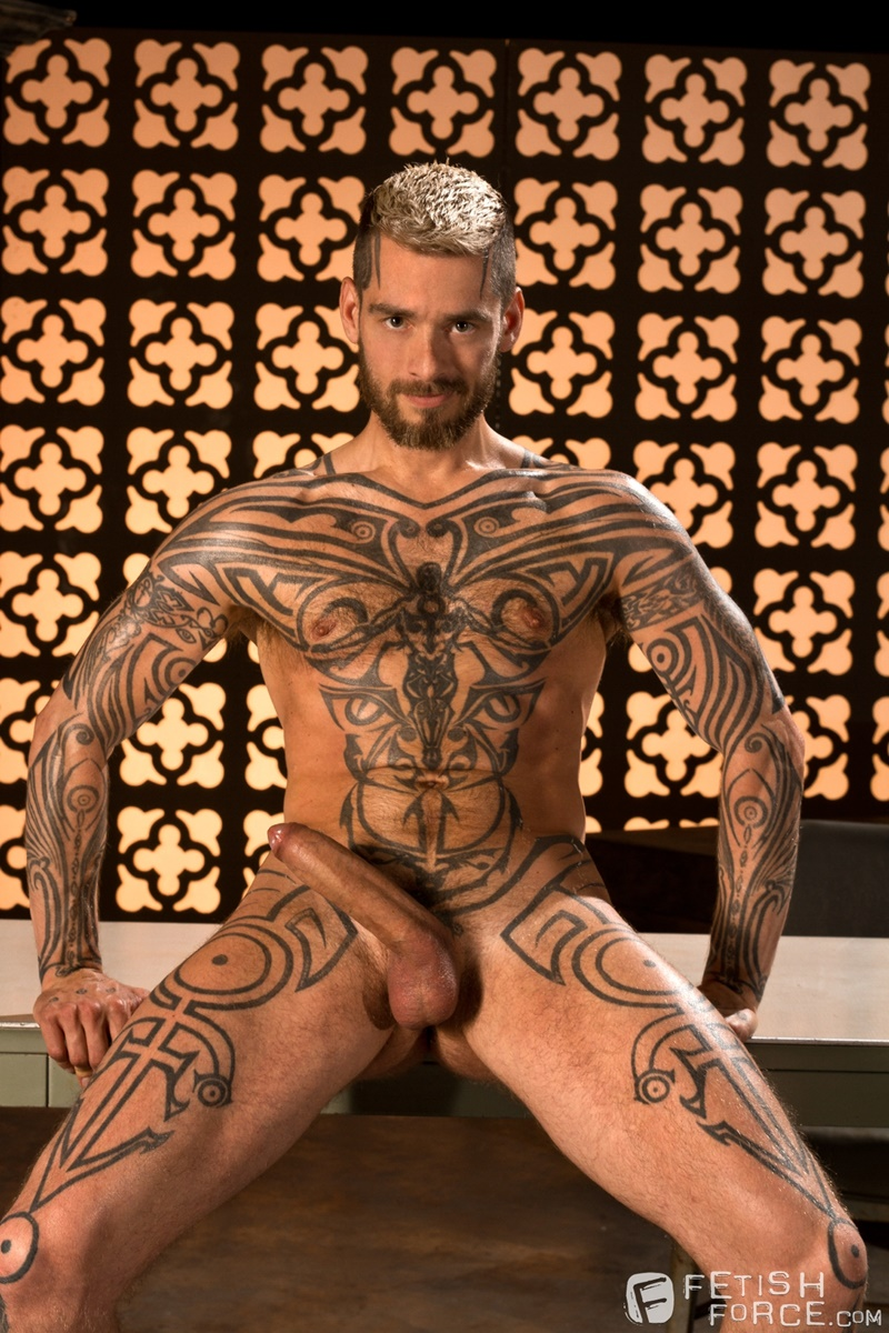 FistingCentral BDSM tattoo Logan McCree harness restrain tied boung Hugh Hunter horse huge hung cock sucking nipple clamps wax 004 gay porn tube star gallery video photo - Hugh Hunter keeps sliding the sounding rod in and out of Logan McCree's dick slit