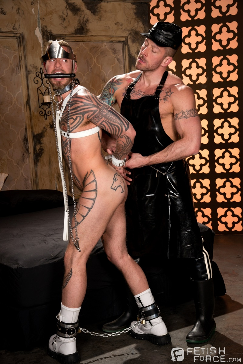 FistingCentral BDSM tattoo Logan McCree harness restrain tied boung Hugh Hunter horse huge hung cock sucking nipple clamps wax 010 gay porn tube star gallery video photo - Hugh Hunter keeps sliding the sounding rod in and out of Logan McCree's dick slit