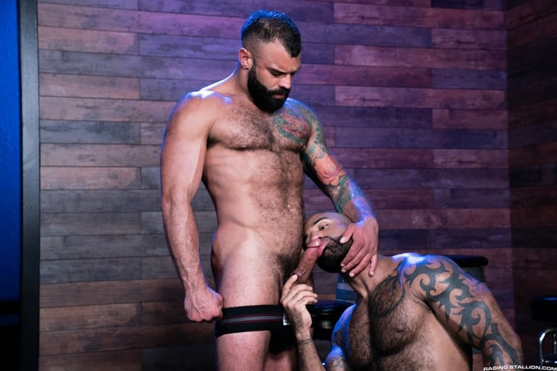 Men for Men Blog RagingStallion-Daymin-Voss-Drake-Masters-hairy-body-massive-cock-bulge-big-thick-hardcore-anal-fucking-cocksuckers-001-gay-porn-pictures-gallery Daymin Voss can't resist touching Drake Masters' rock-hard hairy body reaching down to grope his massive cock bulge Raging Stallion