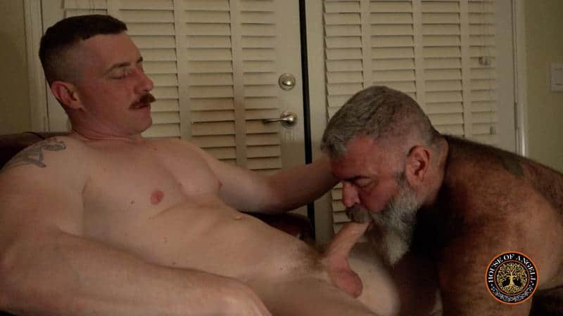 Hairy big gay bear Will Angell services step son Jack Reed thick uncut dick 0 gay porn pics - Hairy big gay bear Will Angell services his step-son Jack Reed's thick uncut dick